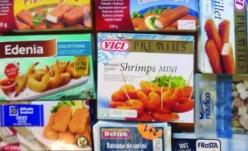 Semipreparate din peşte şi fructe de mare pane, congelate