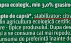 Lapte ecologic de capră îmbunătăţit cu E 331!
